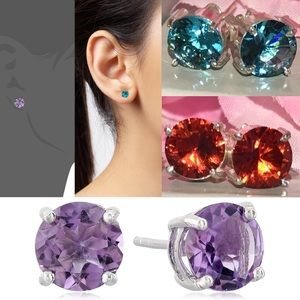 3pcs Amethyst Garnet Blue Quartz 8mm Stud Earrings